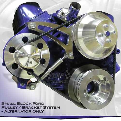 CVF Racing Billet Pulleys and Brackets for small block ford mustang 302 engine