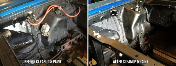 The hood latch needed a bath of paint stripper and degreaser followed up by a scrub brush.