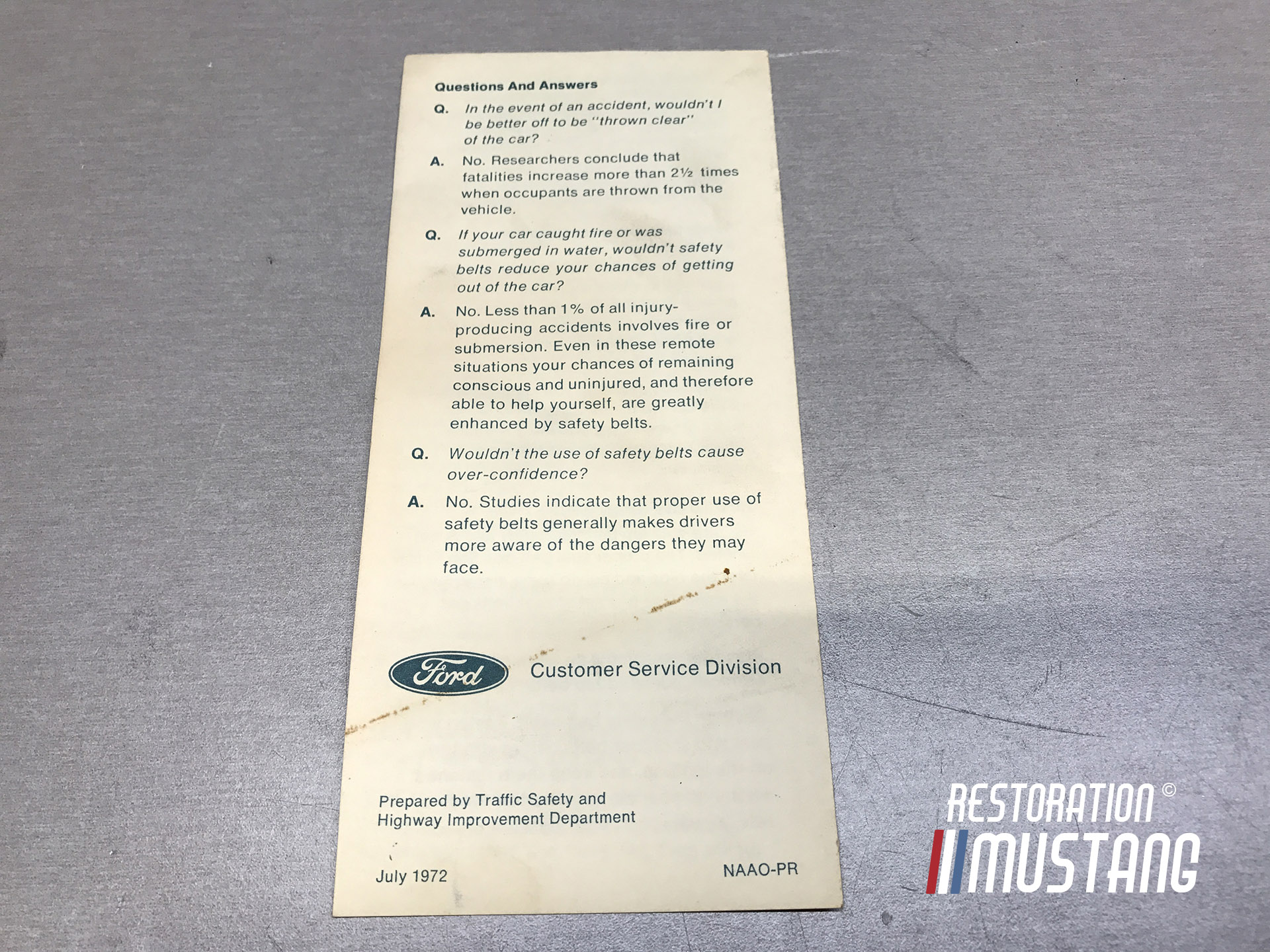 Ford Safety Belts and You Original Literature