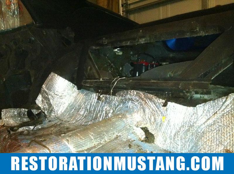 Installing FatMat Sound Deadener In Mustang Classic Car: Prepping the floor