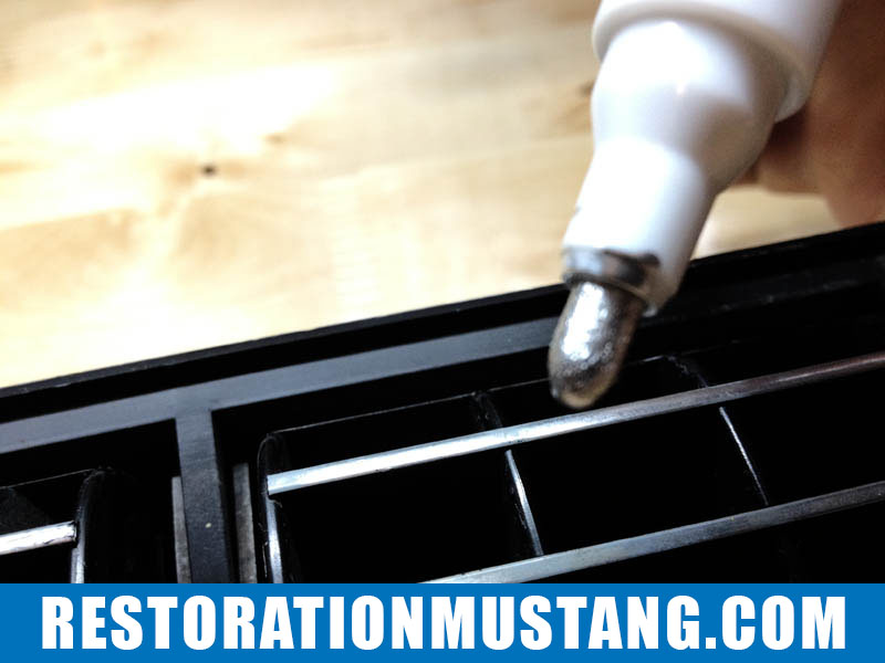 """Bringing back the appearance of chrome to the A/C vents. A few weeks ago I saw a friend do a post on his YouTube channel showing how to revive a dashboard panel with a $5.00 paint pen. You can see Tyler's video here. I have to give credit to """"whosaidtyler"""" for this tip. Anyhoo… I ordered a new center dash air conditioning vent from a person on ebay. Overall, the vent was in excellent shape except for the lack of chroming on the a/c vent directors. This is now a very simple fix… Using a silver permanent paint pen ($5.00) and some normal household rubbing alcohol (as a prep) keep a very steady hand and run the pen along the surface that used to be chrome or silver. The end result is a shockingly nice appearance of chrome or accent silver. It looks very clean, crisp, and brings new life into an old part! Thanks Tyler! Check out my pictures below."""